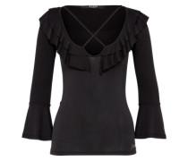Shirt mit Volant 'Lia' schwarz