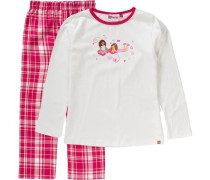 Schlafanzug 'friends' für Mädchen pink / weiß