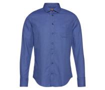 Hemd mit dezenter Musterung 'EslimE_1' dunkelblau