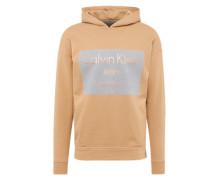 Sweatshirt mit Flockdruck beige / schwarz