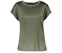 T-Shirt Kurzarm Rundhals Blusenshirt mit Material-Mix