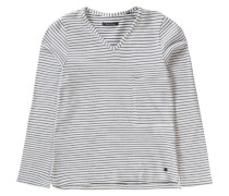 Langarmshirt mit Brusttasche blau / weiß