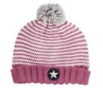 Zweifarbige Bommelmütze pink