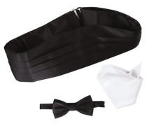 Kummerbund-Set mit Fliege und Einstecktuch schwarz / weiß