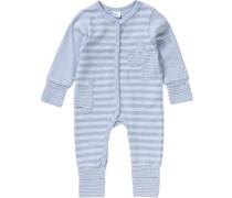 Schlafstrampler für Jungen blau / hellblau / blaumeliert / weiß