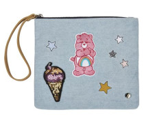 Clutch mit Patches hellblau