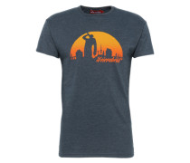 T-Shirt 'Feierabend Reloaded' navy / orange
