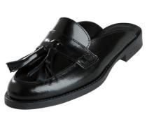 Leder Mule Schuhe schwarz