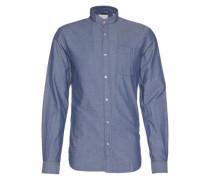 Hemd 'China collar shirt' blau