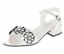 Sandalette mit Blütenapplikation weiß