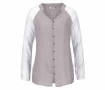 Hemdbluse grau / weiß