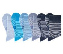Damensocken (6 Paar) blau / aqua / taubenblau / hellblau / grau / schwarz