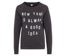 Sweater mit Statement-Print 'Idea' grau