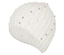 Rippstrickmütze mit Perlen weiß