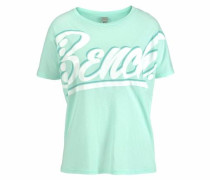 T-Shirt 'oversized Graphic' mint / weiß