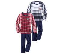 Pyjamas (2 Stck.) blau / rot / weiß