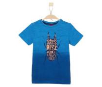 T-Shirt mit Insekten-Print dunkelblau / hellorange