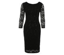 Kleid mit Pailletten besetzter Spitze schwarz