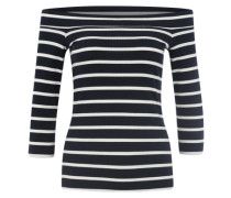 Off Shoulder Shirt 'Pcsisa' nachtblau / weiß