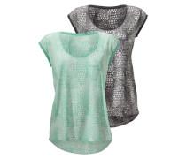 Shirts in leicht transparenter Ausbrenner-Optik (2 Stück) grün