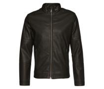 Kunstlederjacke 'Imitated leather jacket' schwarz