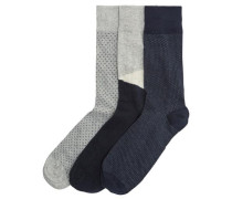 Socken 3er-Pack blau / grau
