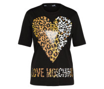 T-Shirt 'Animal Heart' mit Statement-Print beige / schwarz