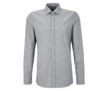 Slim: Gemustertes Stretch-Hemd grau