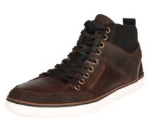 Sneaker aus Ledermix dunkelbraun