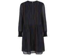 Kleid mit langen Ärmeln Chiffon- dunkelblau / goldgelb