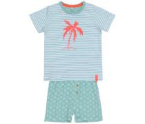 Shorts-Set 'nitderry' pastellblau / melone / weiß