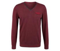 V-Neck-Pullover mit Ringeln rot