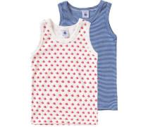 Doppelpack Unterhemden für Jungen blau / navy / hellrot / naturweiß