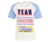 T-Shirt mit Frontprint hellblau / gelbmeliert / mischfarben / pink