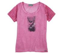 Trachtenshirt Damen mit Schmucksteinapplikation pink