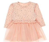 Kleid Sternenprint-Tüll grau / rosa