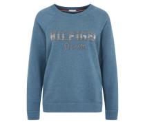 Sweatshirt mit Zierperlenbesatz blau