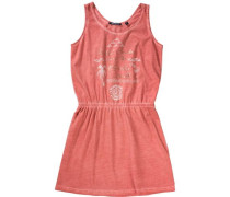 Kinder Jerseykleid orange / koralle / silber / weiß