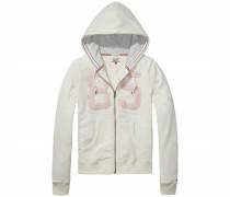 Sweatshirt 'Basic graphic zip hoody l/s 01' rosa / naturweiß