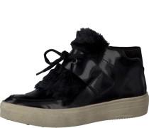 Sneaker in Lackleder-Optik und mit Fellimitat schwarz