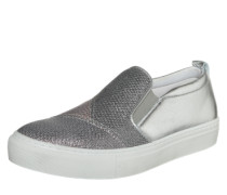 Slipper im Metallic-Look grau