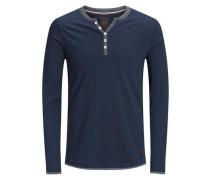 Klassisches T-Shirt mit langen Ärmeln dunkelblau