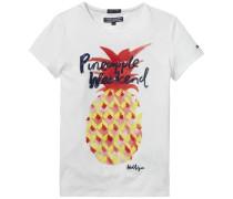 T-Shirt »Tanzania CN Knit S/s« dunkelblau / gelb / rot / weiß