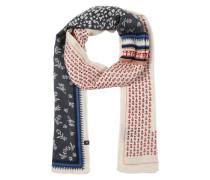 Schal mit Blumenprint creme / blau / rosa