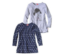 Longshirt (Packung 2 Stück) für Mädchen dunkelblau / grau