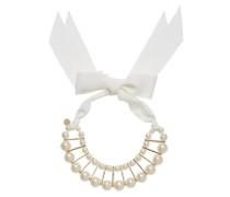Perlencollier mit Schleifenband weiß