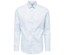 Slim-Fit-Langarmhemd hellblau / weiß