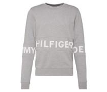 Sweatshirt mit Logo-Print graumeliert / weiß