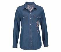 Jeansbluse »Laura« blue denim / rosa