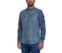 Jeanshemd aus Indigo Jacquard Denim blau